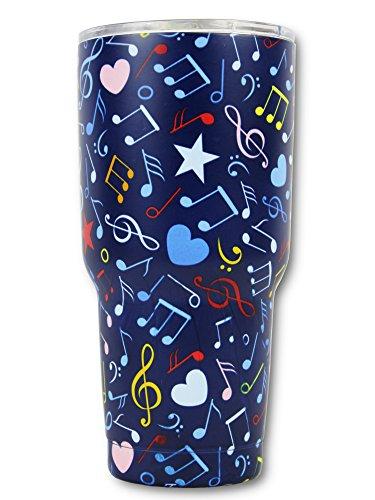 Music Note Gift 30Oz Stainless Steel Tumbler, KnitPopShop, Travel Vacuum Insulate Cup Men Women Mom Teacher Fan Lovers Mug