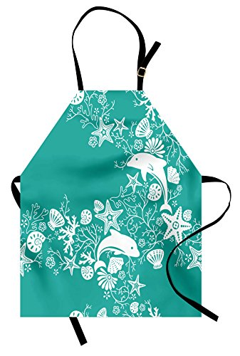 Ambesonne Sea Animals Apron, Dolphins Flowers Sea Floral Pattern Starfish Coral Seashell Composition, Unisex Kitchen Bib Apron with Adjustable Neck for Cooking Baking Gardening, Sea Green ()