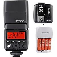 Godox TT350S GN36 1/8000s HSS Mini Flash 2.4G Wireless Master Speedlite + X1T-S Trigger Transmitter for Sony Mirrorless DSLR Camera A77II A6000 A6500 RX10 Series + Mcoplus AA Battery Kit
