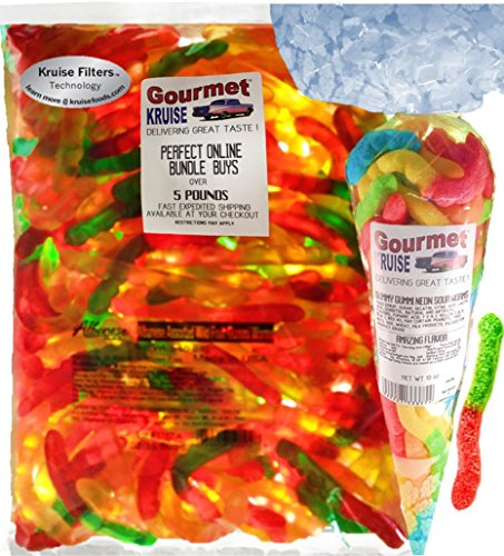 Gummi Gummy Worms Fruit Flavor Albanese - Bulk Candy 5Lb Bag With Worms Sour Neon Gourmet Kruise Signature Gift Bag 10 OZ (NET WT 5 LBS.10OZ) 2 Item -