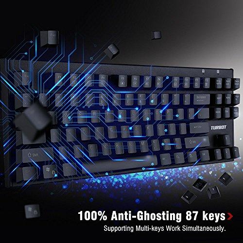 Turbot Wired Mechanical Gaming Keyboard, 87 Key...