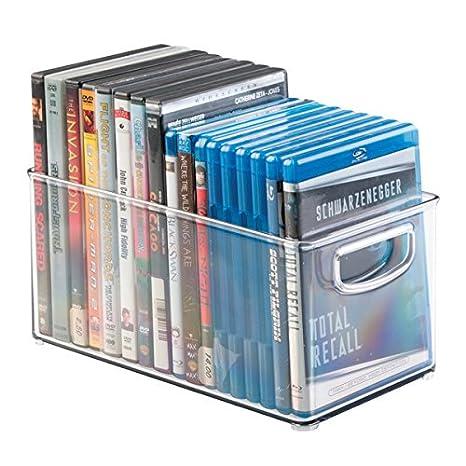 mDesign Porta DVD, CD y videojuegos – Sistema de almacenaje de películas, series, música o juegos de consola – Cajas para DVD de plástico transparente ...