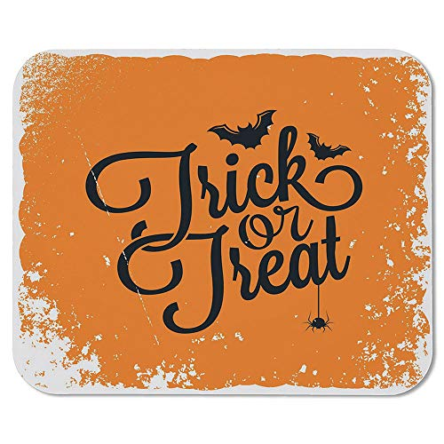 Vintage Halloween Non Slip Mouse Pad,Trick or Treat Halloween Theme Celebration Image Bats Tainted Backdrop Decorative for Laptop Computer & PC,7.87''Wx9.45''Lx0.08''H -