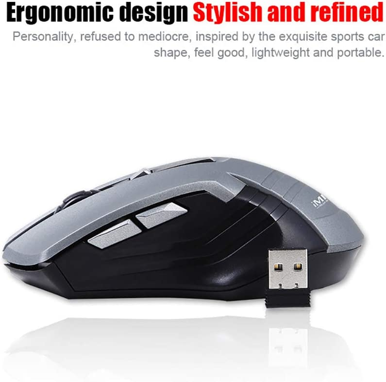 Suitable for Office,Blue Ergonomic Design YUEF Stylish and Lightweight USB Wireless Mouse 3 Files DPI Adjustable 2.4Ghz Wireless Connection 10M Transmission Distance