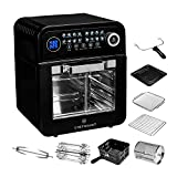 ChefWave 12.6 Quart Air Fryer, Rotisserie and Dehydrator - Large Capacity 1600W Oil Free Cooker with 16 Presets and Cooking Modes - 8 Accessories - Recipes Included