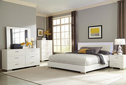 Coaster Home Furnishings 203500Q Platform Bed, Glossy White