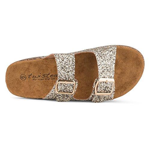 Twisted Women's Cork Strap Sole Payton Double Gold Sandal Glitter xxWvnpqr