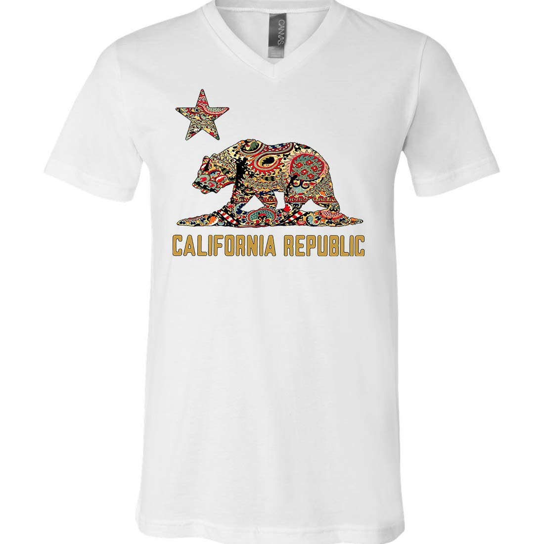 Dolphin Shirt Co California Republic Paisley Bear Asst Colors Vneck