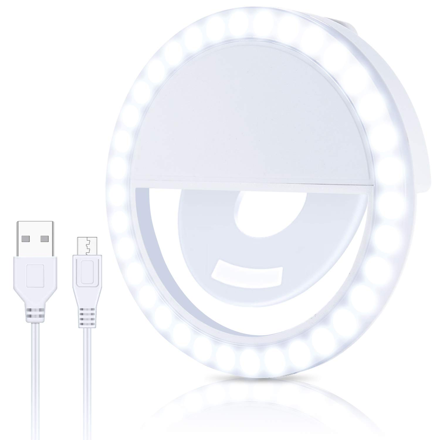 Selfie Ring Light Portable Rechargeable Circle Camera Phone Light with 36 LEDs /& 3 Brightness Modes is Ideal for Photography and Videos Compatible with Android iPhone Smart Phones Laptop and iPads