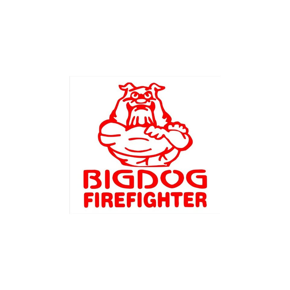 Firefighter Decals Big Dog Fire Fighter Decal Sticker Laptop, Notebook, Window, Car, Bumper, Etc Stickers 5in. in RED Exterior Window Sticker with