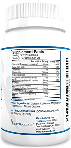 Thyroid Support Supplement - #1 Premium Formula to Boost Metabolism, Support Weight Loss, Increase Energy & Focus - with Iodine (Kelp), Zinc, L-Tyrosine, Ashwagandha, Vitamin B12-60 Capsules by Nutrazest (Image #3)