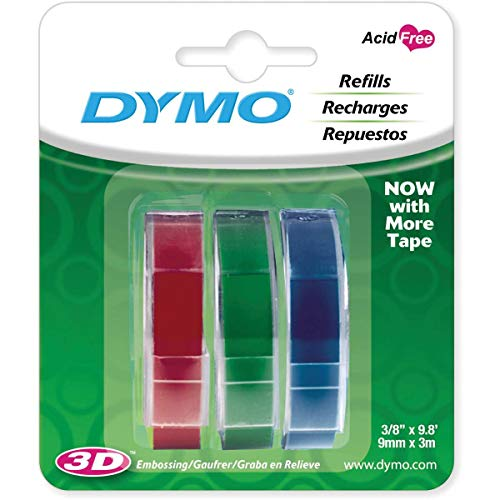 DYMO 1741671 Embossing Tape, Red, Green and Blue, 3/8-Inch