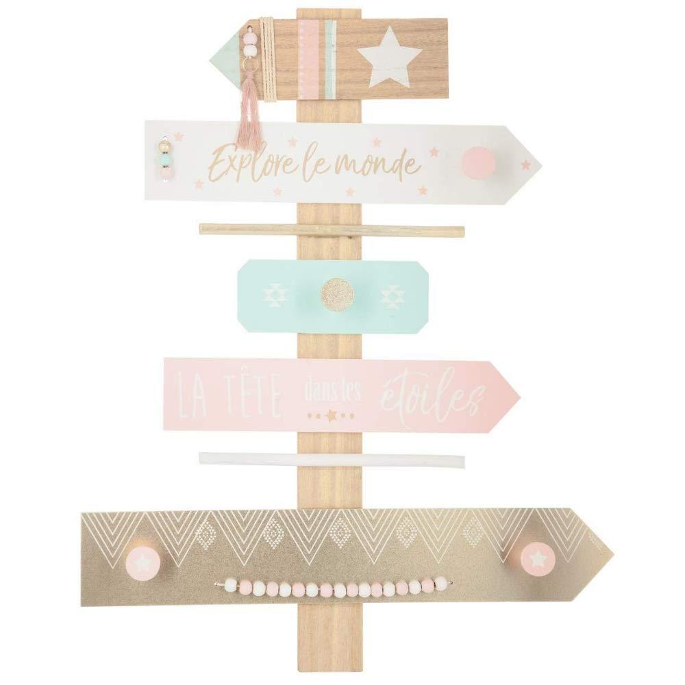 Atmosphera - Patère Forme Pancarte de Direction avec 4 Crochets et Pompon Ethnic