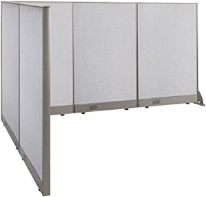 """GOF Freestanding L Shaped Office Partition, Large Fabric Room Divider Panel, 72""""D x 90""""W x 48""""H"""