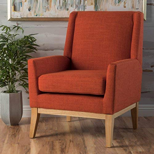 Archibald Mid Century Modern Fabric Accent Chair (Orange)