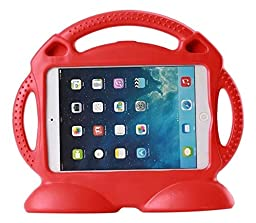 Muze Shock Proof Kids Case 3D Rubbers Carrying Case with Handle for Apple iPad 2/3/4 Generation Tablet, Red