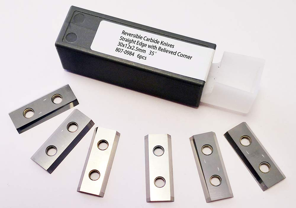 Reversible Carbide Knives in a box of 6pcs for Spiral Cutterheads, Helical Cutterheads with 30x12x2.5mm Knives