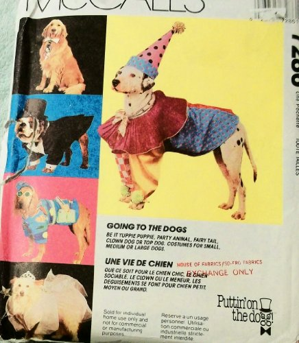 OOP McCall's Pattern 7286. S;M;L Dog Clothes/costumes. Yuppie Puppy; Party Animal; Fairy Tall; Top Dog; Clown Dog ()