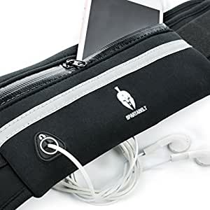SpartaBelt Running Belt - Designer Fanny Pack with Expandable, Water-Resistant Neoprene and Headphone Port for Men, Women and Phones (including iPhone 6 and 6s Plus) of All Sizes (Black)