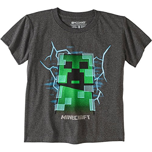 (Mojang Minecraft Charged Creeper Graphic Polyester Dark Grey T-Shirt For Boys, Gray, X-Small)
