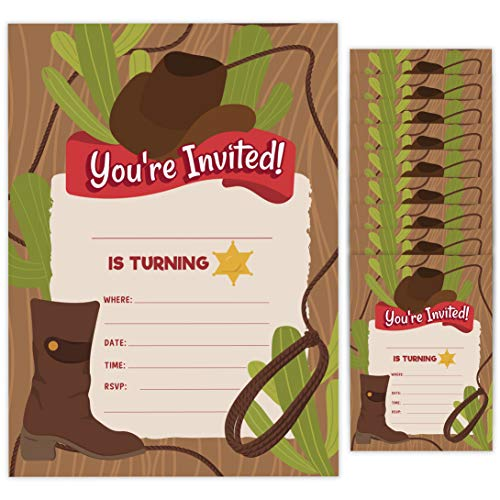 Cowboy 1 Happy Birthday Invitations Invite Cards (10 Count) With Envelopes Boys Girls Kids Party (10ct)