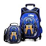 Cheap HIGOGOGO 2Pcs 3D Toy Car Nylon Trolley Set, Size:17″13″7″(HWT), 10″9″4″(HWT),Boys Girls 6 Wheels Waterproof Backpack with Lunch Bag Blue