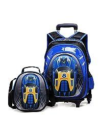 "HIGOGOGO 2Pcs 3D Toy Car Nylon Trolley Set, Size:17""*13""*7""(H*W*T), 10""*9""*4""(H*W*T),Boys Girls 6 Wheels Waterproof Backpack with Lunch Bag Blue"