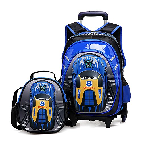 Cheap HIGOGOGO 2Pcs 3D Toy Car Nylon Trolley Set, Size:17″13″7″(HWT), 10″9″4″(HWT),Boys Girls 6 Wheels Waterproof Backpack with Lunch Bag Blue