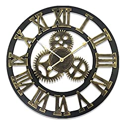 KTYJH Family Handmade Oversized 3D Retro Rustic Decorative Luxury Art Vintage Large Wall Clock Wall for Gift DIY Wall Clock
