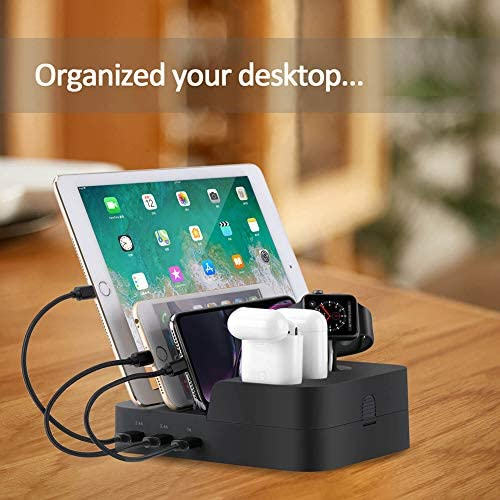 Ocim 6 Port USB Charging Station,Multiple Devices Desktop Charger Docking Organizer Compatible for Airpods Apple iWatch iPhone iPad Tablets and Smart Cell Phones