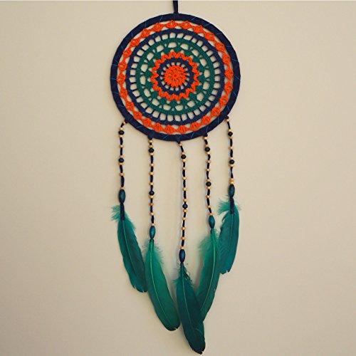 Dream Catcher by Bohemian Merchant Blue, Green, Orange, Turquoise Large Handmade Crochet Knit Lace 8.5