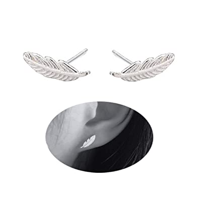 40c9d6140 FarryDream Genuine 925 Sterling Silver Tiny Feather Studs Earrings for  Women Teen Girls Christmas Gifts (