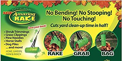 Amazing Rake 746321243312 3-in-1 Lime Green Ergonomic Lightweight 17-Inch Lawn Leaf