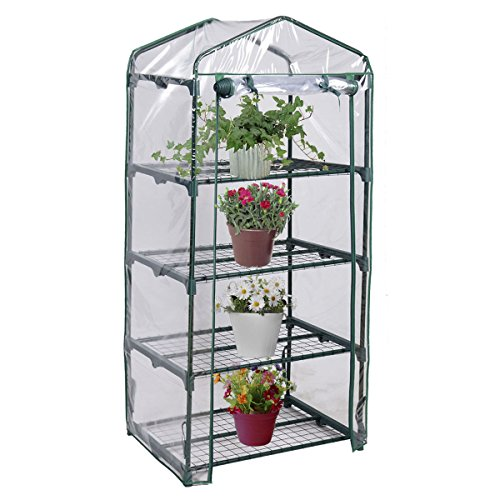 4 Shelves Green House Portable Mini Outdoor Green House Brand New Garden Rust Resistant Transparent Plastic Covering Easy To Set Up Brand New
