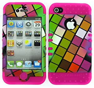 BUMPER CASE FOR IPHONE 4 SOFT HOT PINK SKIN HARD COLORFUL SQUARES COVER