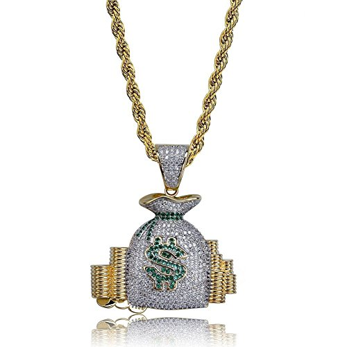 SHINY.U Iced Out CZ Cluster Simulated lab Diamond Star Money Bag Shootemup Emoji Pendant Necklace Chain for Men and Women Fashion Gifts (Money Bag - Money Pendant