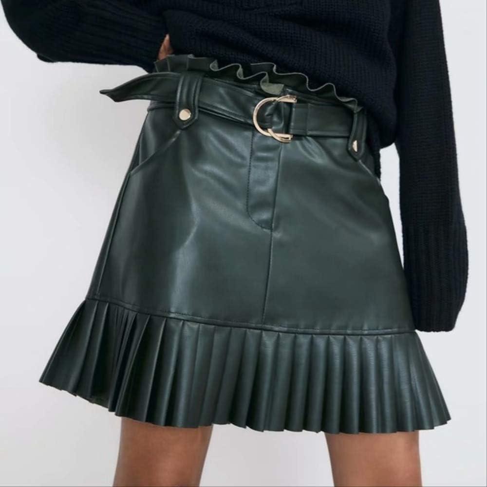 YMKCBB Falda Corta Faldas Plisadas para Mujer Falda De Cintura Alta con Volantes Mini Faldas Cortas Falda De Faja Negra Faldas Elegantes Falda De Cuero Sintético para Mujer S Falda De Cuero Verde