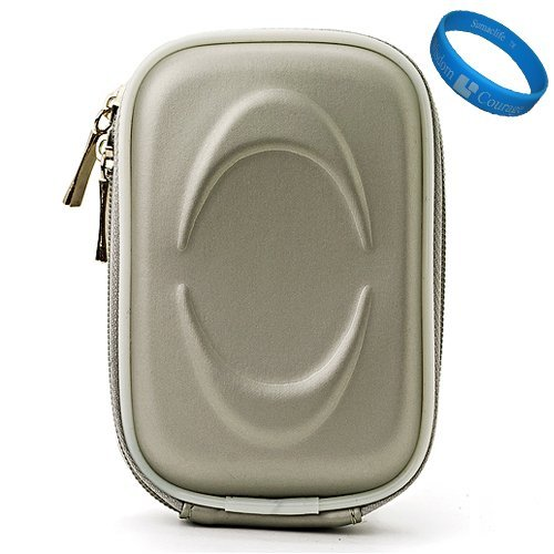 Silver EVA VG Compact Semi Hard Protective Camera Case for Samsung DV300F / MV800 / ST93 / ST90 / ST65 / ST30 / ST95 / ST700 / PL170 / PL210 / PL120 / SH100 / WB700 / PL200 / TL350 / WB2000 / AQ100 / WP10 / TL210 / PL150 / TL205 / PL100 / ST80 / ST100 / TL225 / ST550 / CL5 / PL10 / SL202 / PL50 / SL30 / ES15 / SL102 / ES55 Point & Shoot Digital Cameras + SumacLife TM Wisdom Courage Wristband