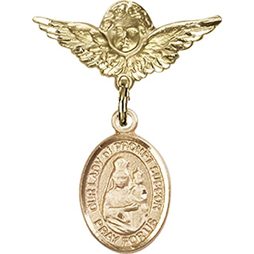 14kt Yellow Gold Baby Badge with Our Lady of Prompt Succor Charm and Angel w/Wings Badge Pin 1 X 3/4 inches ()