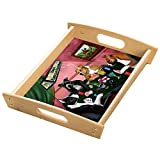 Home of American Staffordshire 4 Dogs Playing Poker Wood Serving Tray with Handles Natural