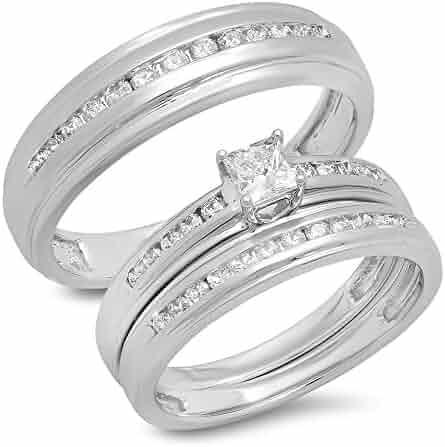 0.85 Carat (ctw) 10K Gold Princess & Round Cut White Diamond Men & Women's Ring Trio Bridal Set