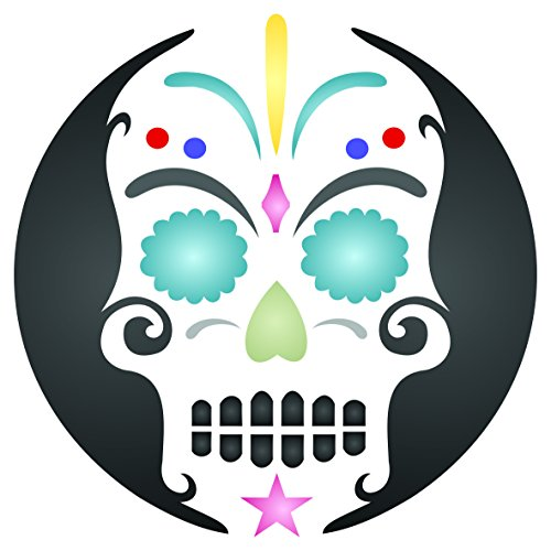 "Halloween Sugar Skull Stencil - (size 8.5""w x 8.5""h) Reusable Wall Stencils for Painting - Day of the Dead Decor Ideas - Use on Walls, Floors, Fabrics, Glass, Wood, and -"