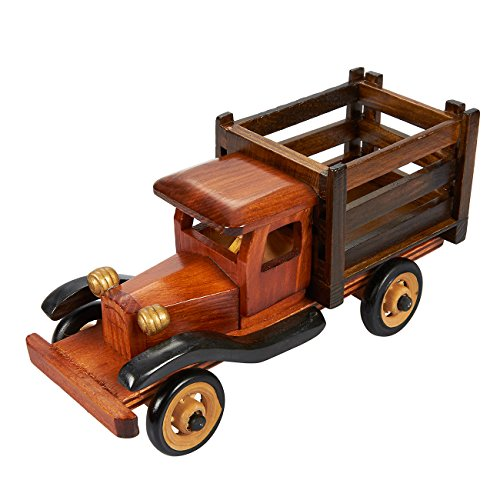 Desktop Stationery Storage Truck Pen Pencil Holder - Vintage Wooden Truck Design Desk Art Pen Pencil Holder, 7.75 x 3 x 3.75 inches