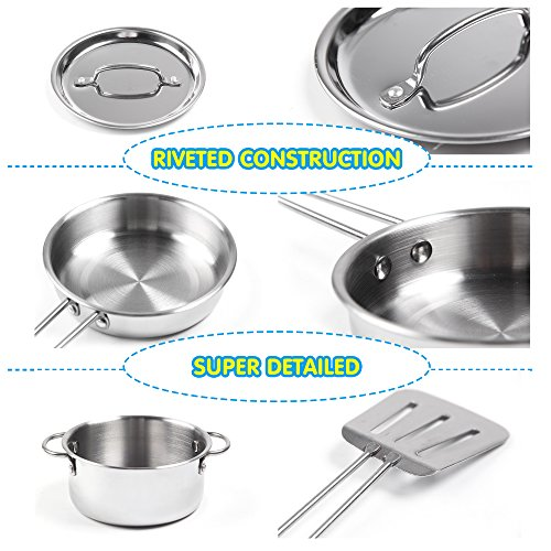 KIDAMI 16 Pieces Kitchen Pretend Toys, Stainless Steel Pots & Pans Playset with Play Foods, Large Size, Matching Kids' Play Kitchen