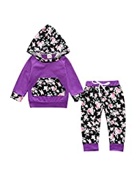 Toddler Baby Girl 2pcs Flower Print Hoodies with Pocket Top+Striped Long Pants Set