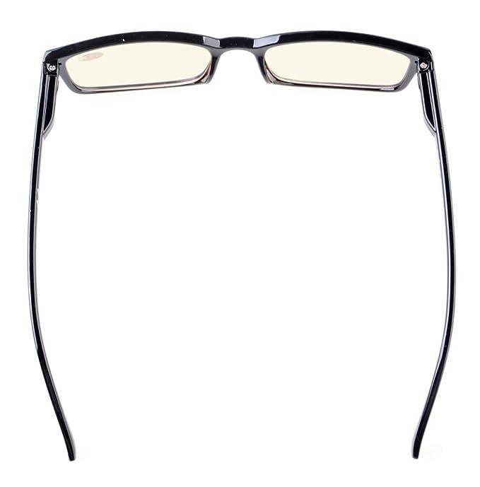 Eyekepper Classica cornice rettangolare Primavera-cerniere del computer Occhiali da lettura Occhiali da vista Lettori (Nero, Giallo Tinto Lenti) +0.50