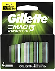 Gillette Mach3 Sensitive Cartucho de repuesto para afeitadora para hombres, 4 Unidades
