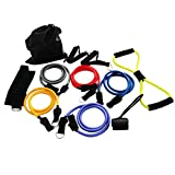 Magicdo® Resistance Band Set, Strong Exercise Band with Durable Exercise Tube, Door Anchor, Handle for Leg, Fitness Workout, Weight Loss, Resistance Tube Kit for Travel & Home Gym, 12 Pcs