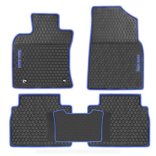 HD-Mart Toyota Camry 8th 2018-2019 Car Floor Mats Rubber Custom Fit Black & Navy Blue for All Weather/Season, Heavy Duty & Odorless(Black/Navy Blue)