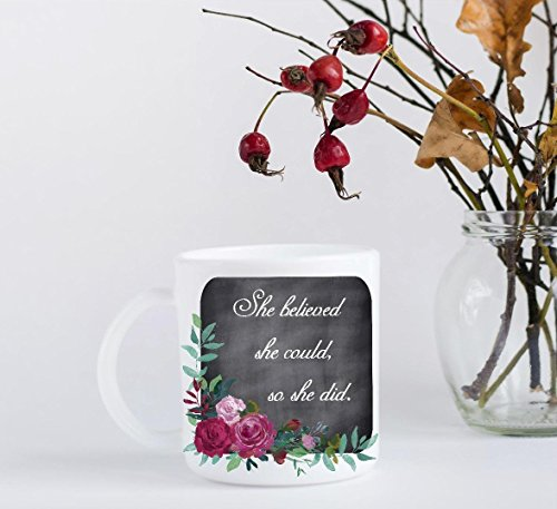 Graduation Coffee Mug - She Believed She Could, So She (Right Hand Facing Computer)